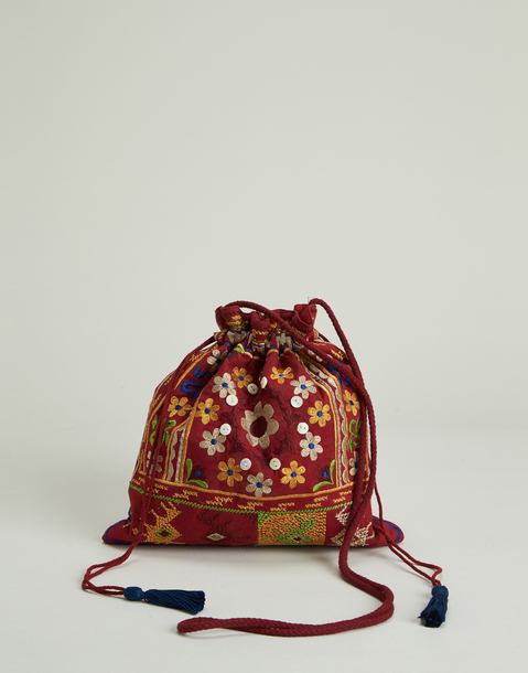 embroidered bucket bag with buttons