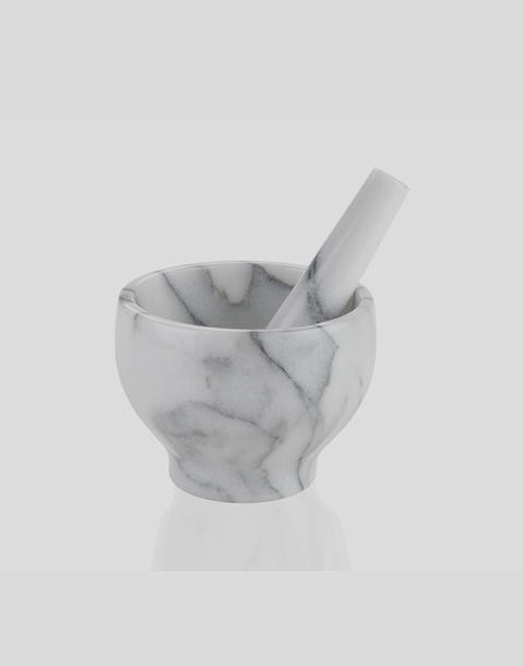 mortero de mármol blanco