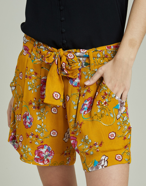 floral short with belt