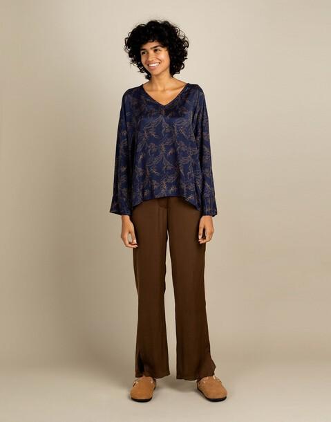 long sleeve printed blouse