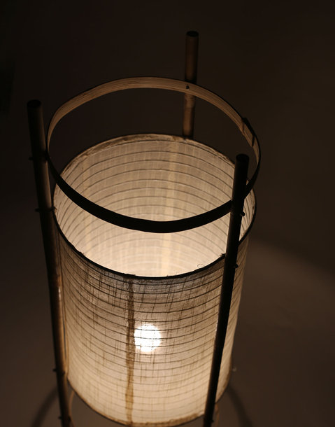 cloth and cane cylindrical standing lamp