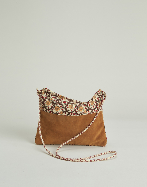 leather and cotton combined bag