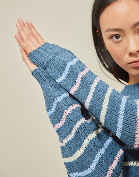 chenille sweater with multicolor lines