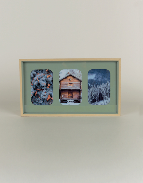 3 photo basic wood frame