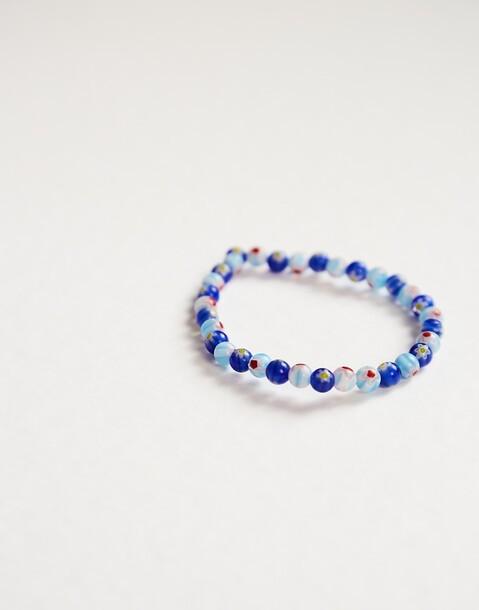 bracelet perles verre fleurs