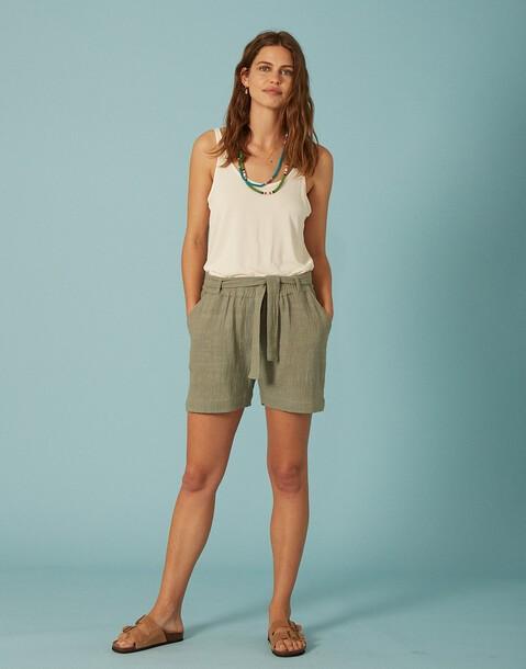 short poches tissu rustique