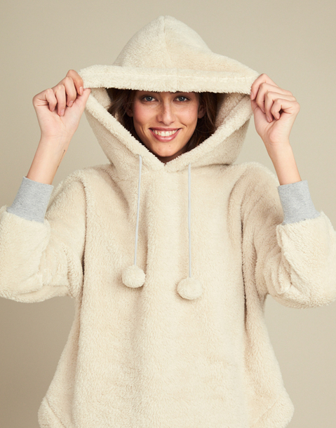oversized fleece sweatshirt with pompons