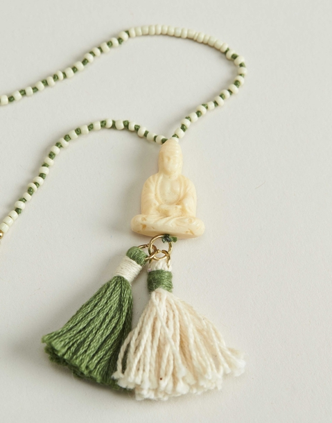 buddha and pompom necklace