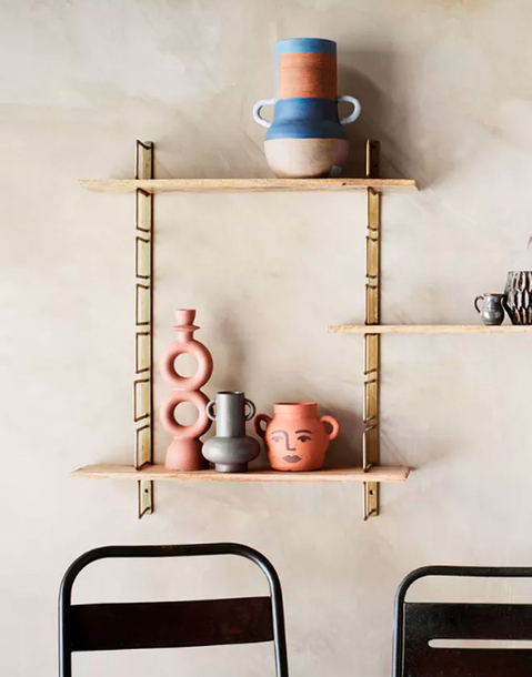 wall metal rack with wooden shelves
