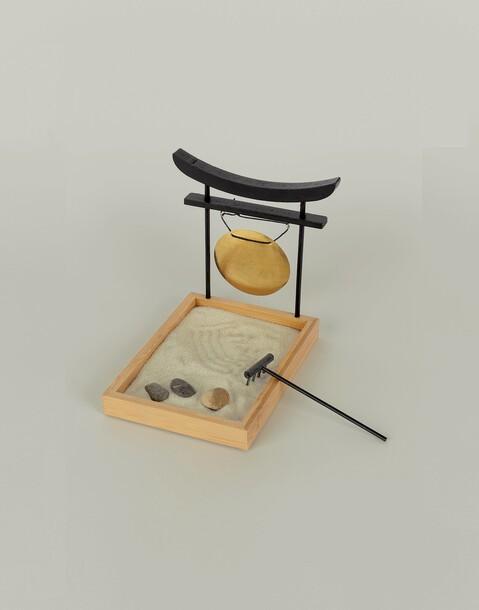 zen garden with gong