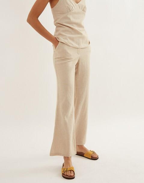 pantaloni lunghi lino flare