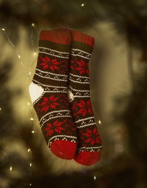 calcetín tricot flor navidad