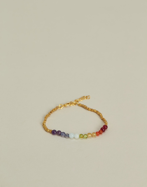 bracelet pierres chakras doré