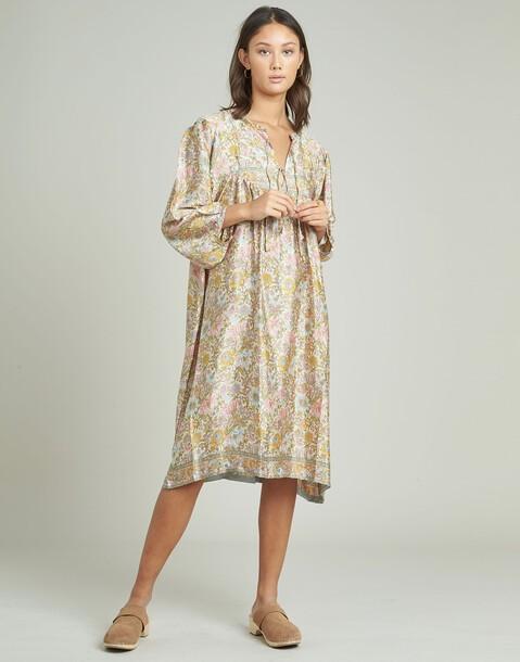 long yoke silk dress