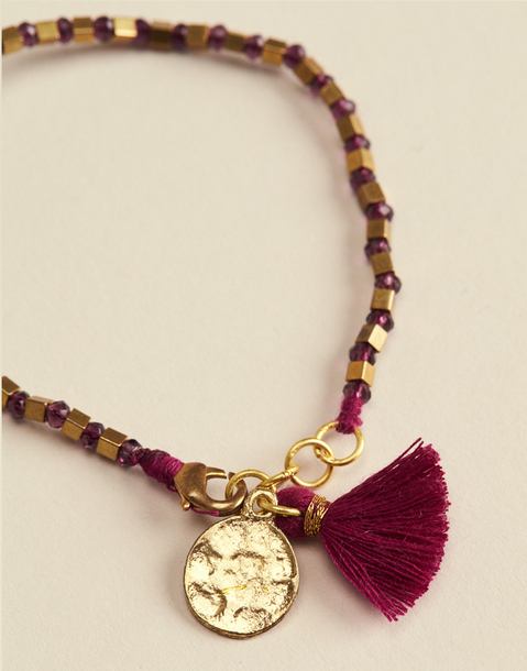 pompom and medallion stone bracelet