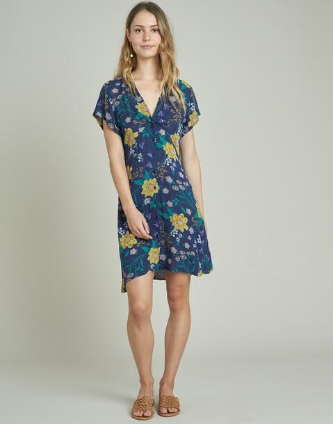 vestido corto abotonado flor pincel