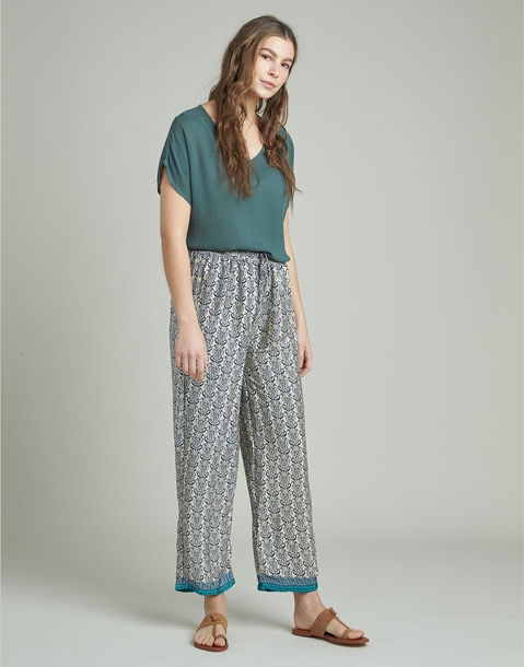 long print drawstring pants