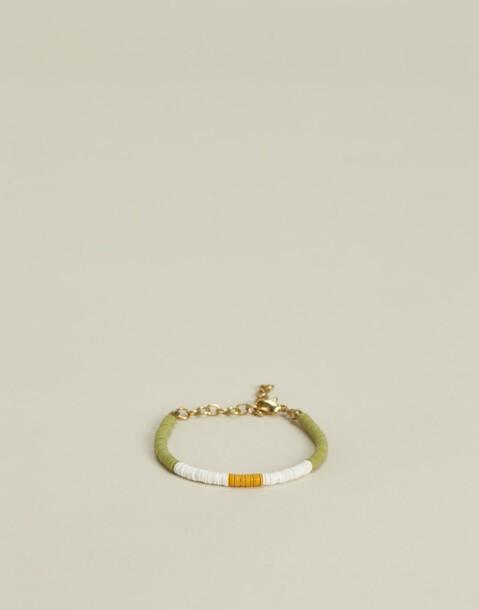 bracelet perles disques tricolore