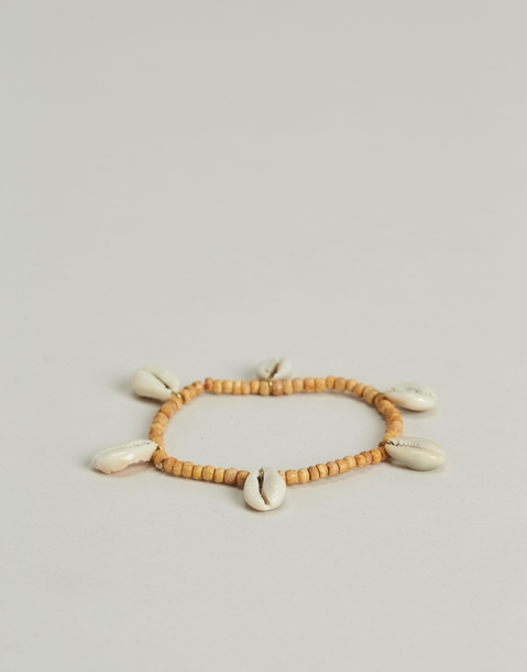 wood and shells anklet