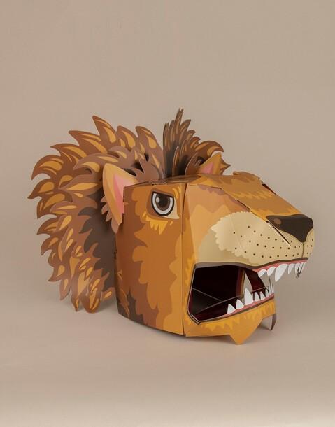 cabeza león cartón