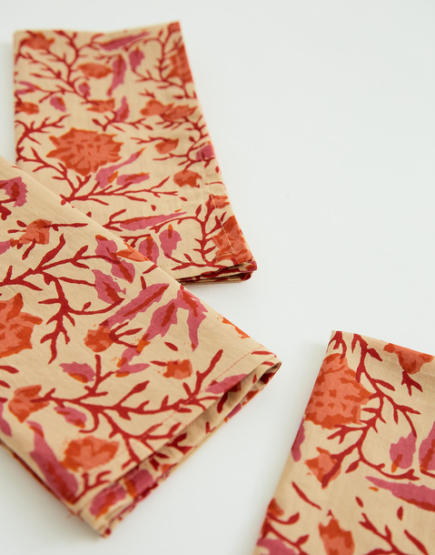 block print cotton napkin set of 2