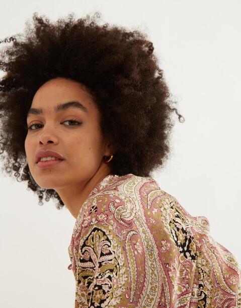 paisley short sleeve blouse