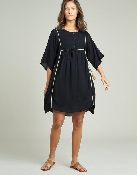 vestido bordado espiga contraste