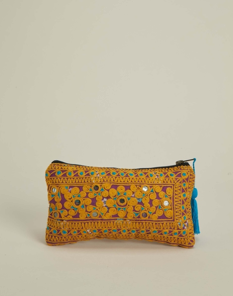 embroidered indian toilet bag with mirrors