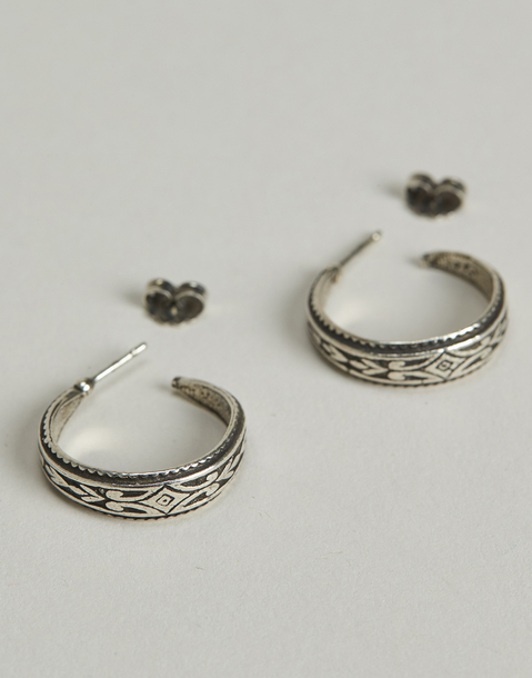 silver wide earrings