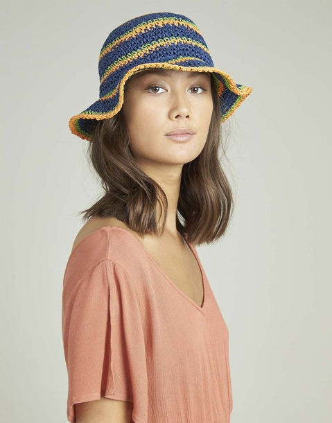 multicolor striped bucket hat