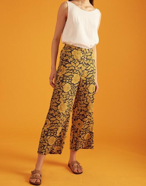 pantalon élastique fleur bicolore