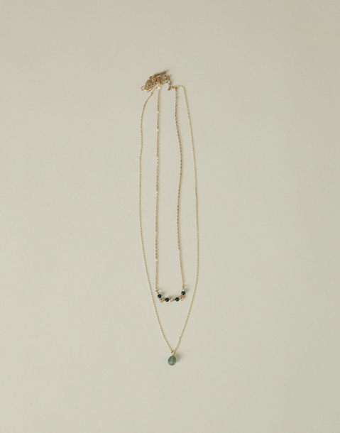 double bead and stone necklace