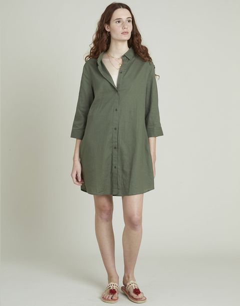 short linen shirt dress