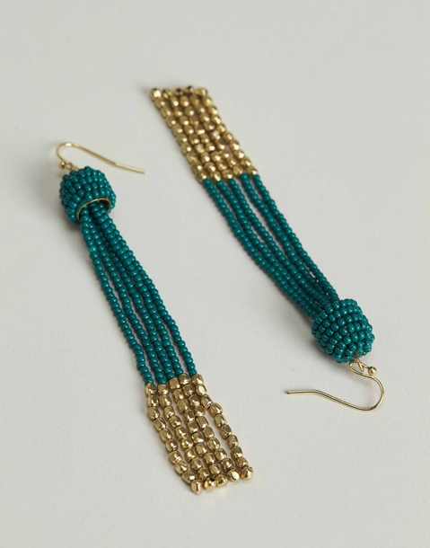 statement earring with two-tone beads