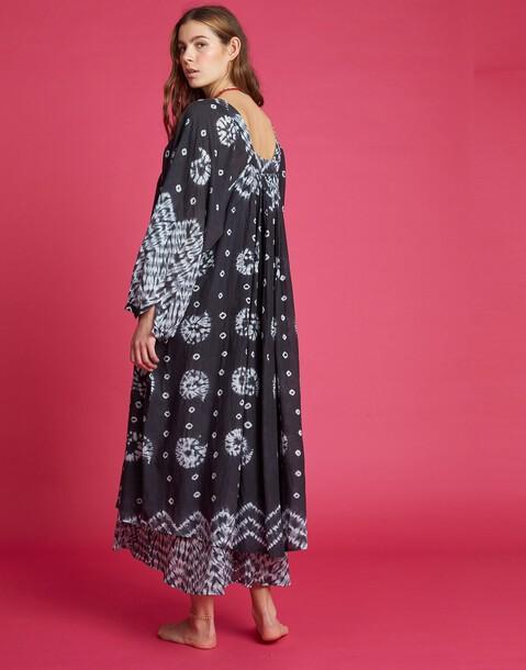 vestido midi técnica shibori