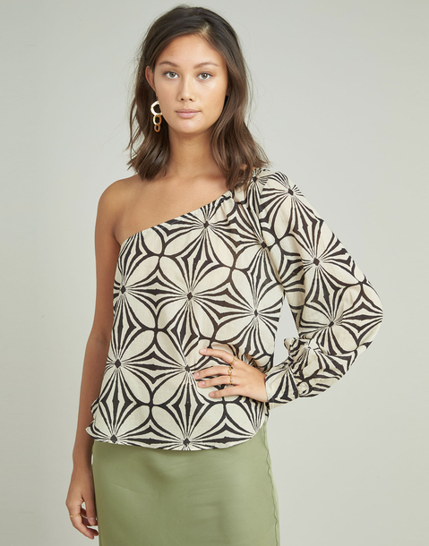 asymmetric abstract print shirt