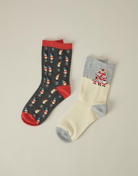 set 2 paia calzini stampa natalizia