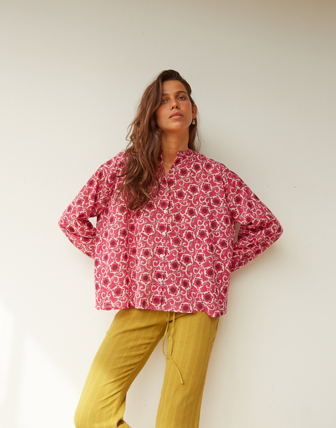 mao style floral blouse