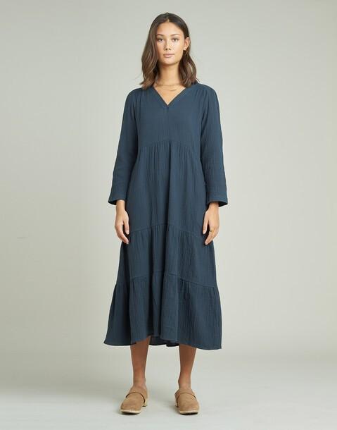vestido manga larga algodón cortes
