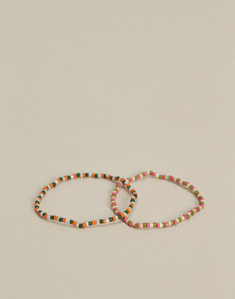 2 multicolor bead bracelets set