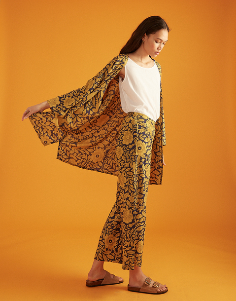 bicolor floral kimono