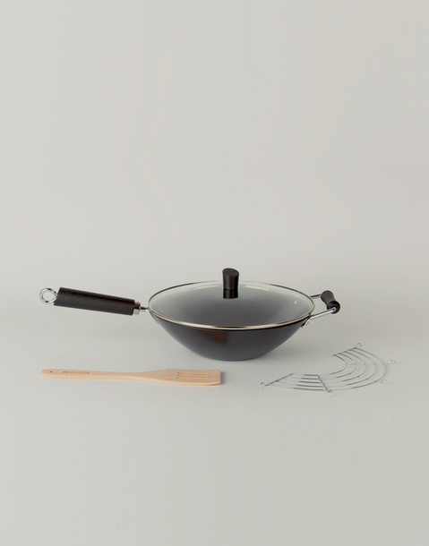 4 piece carbon steel wok set 31 cm