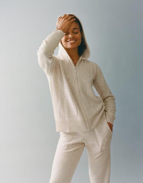 cashmere zipper hoodie