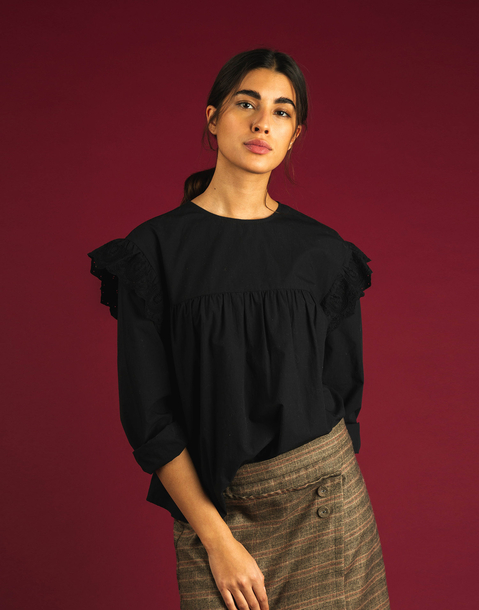 embroidered flounced blouse
