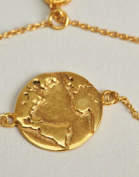 bracelet médaillon monde doré
