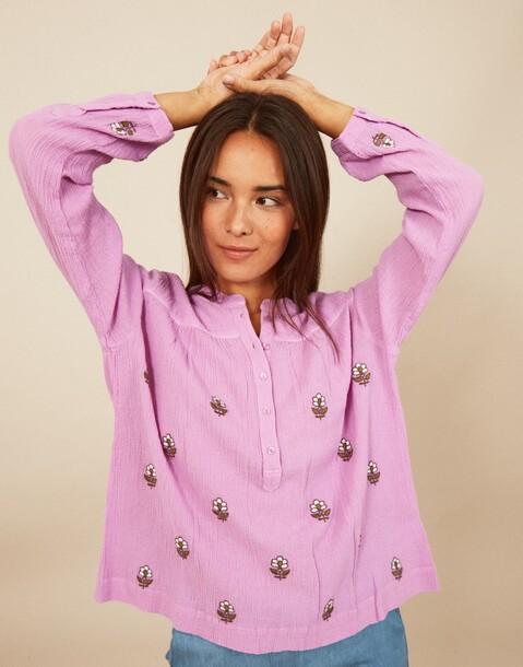 embroidered flower canesu shirt