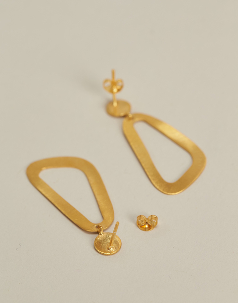 triangle gold plated earrings