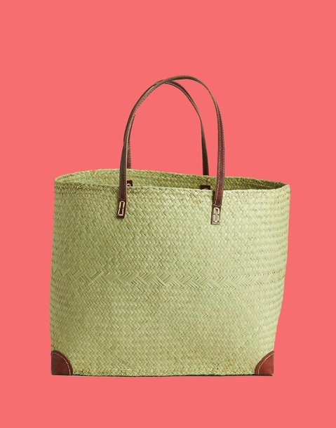 straw and leather basket bag