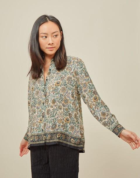 chemise effet soie imprimé floral