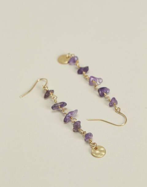 irregular stone long earrings